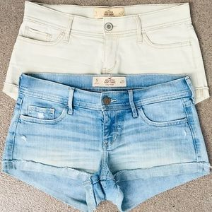 2 PAIRS Hollister Denim Shortie Shorts Bundle